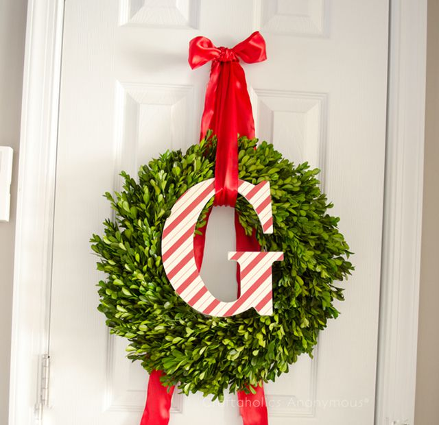 DIY Monogram Candy Cane Wreath