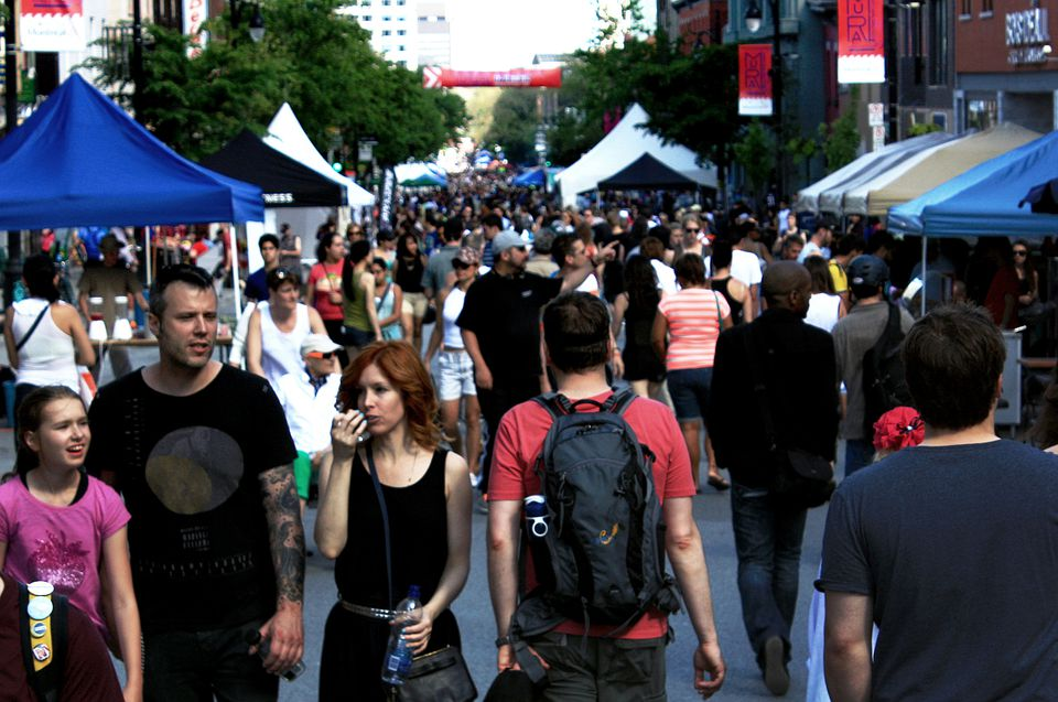 St. Laurent street sales, ventes trottoirs and sidewalk saleson the Main in 2017.