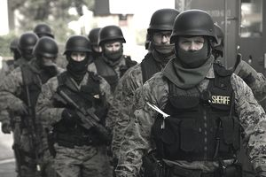 SWAT Team members prepare for the exercise.