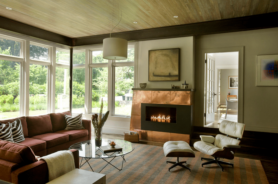 Living Room With Copper Fireplace