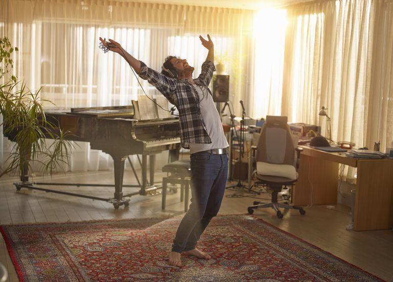Man dancing with headphones on