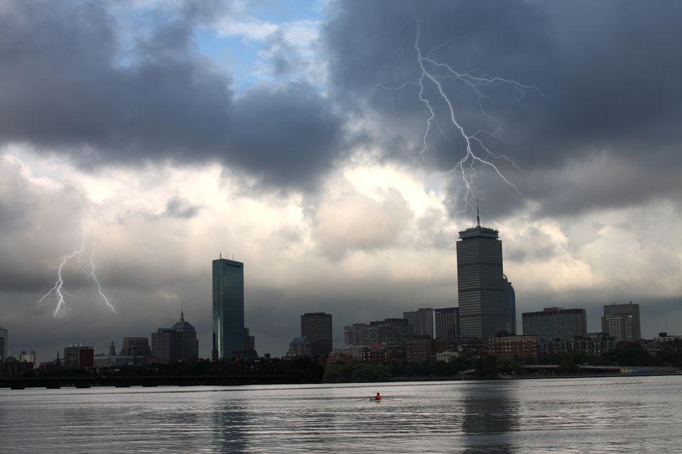 Boston Skyline on a Rainy Day