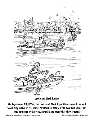 Lewis And Clark Return Coloring Page