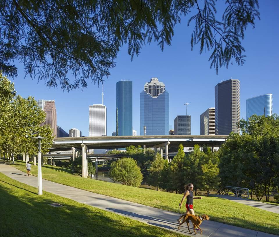 Downtown Houston skyline.