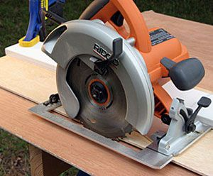 Cutting with a circular saw guide.