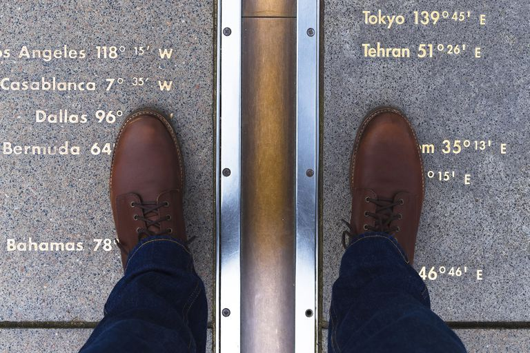 Man in casual shoes, feet straddling the Prime Meridian line.