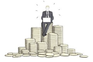 businessman using a laptop on top of a stack of coins