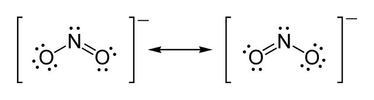 Two Lewis structures or electron dot diagrams for the nitrite ion.