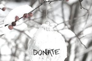 Holiday ornament with the word donate on it.