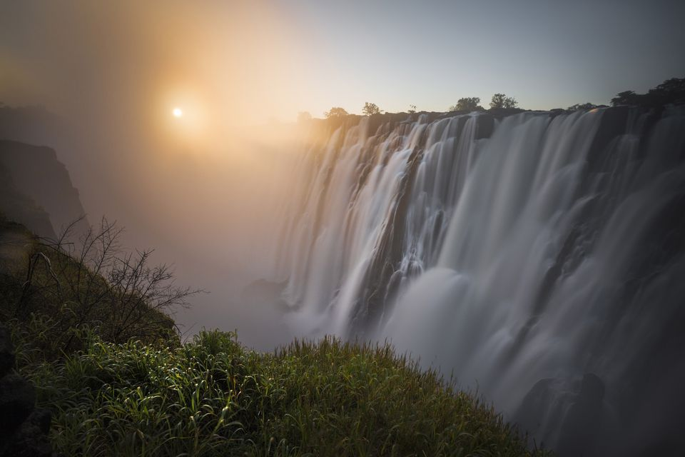 ambia, Victoria falls at sunset depicted from Zambian side