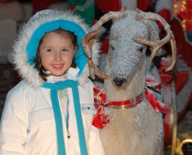 Girl with Reindeer Photo - Enchanted Village at the Cape Codder Resort Hyannis Massachusetts