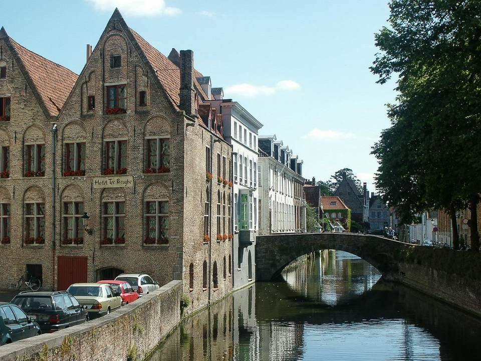 A canal in Bruges, Belgium on a sunny day