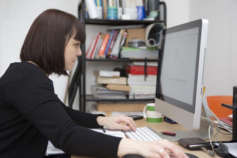 Web designer working in her studio