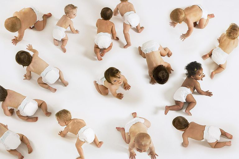 Cute babies crawling