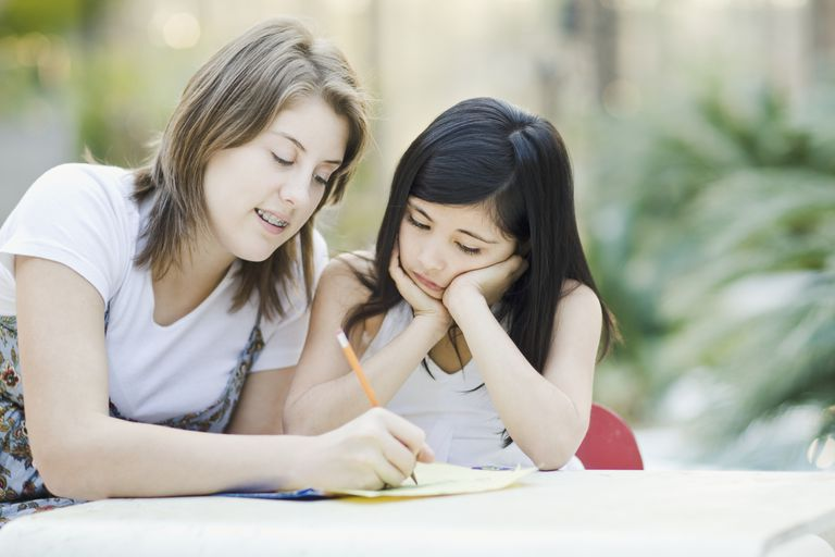 Teenage Girl Tutoring Elementary Student