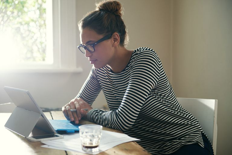 Woman doing research online