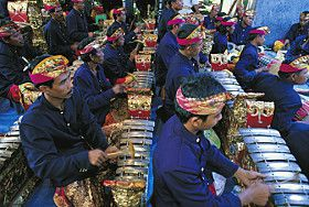 Gamelan is a tradition music form in Bali, Java, and other Indonesian islands.