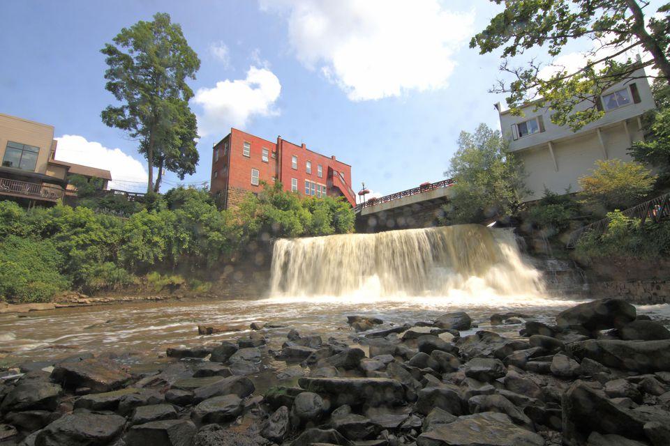 The epoynmous falls of Chagrin Falls, Ohio.