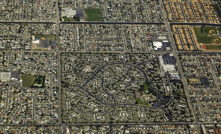 Aerial of Los Angeles, summer day