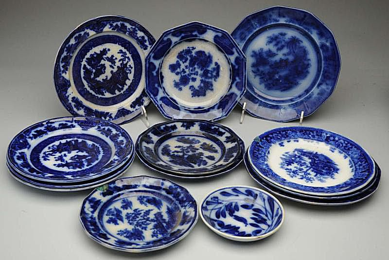 A Variety of Flow Blue Pieces in Different Patterns