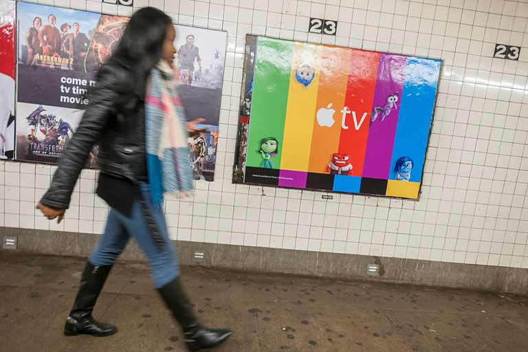 Apple TV poster in subway