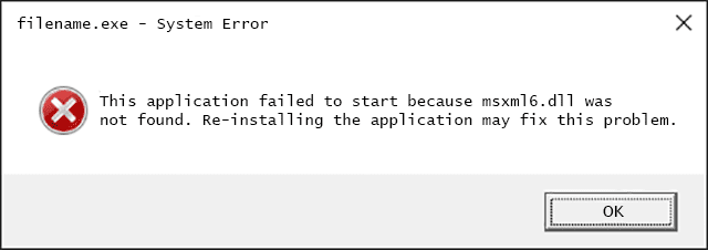 Msxml6.dll Error Message