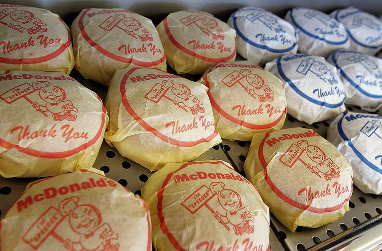 A wrapped cheeseburger and hamburger display sits inside the McDonald's USA First Store Museum April 14, 2005 in Des Plaines, Illinois.