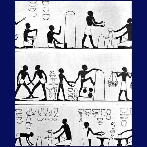 Ancient Egyptian potters depicted in a wall-painting as they wedged, formed, and fired their wares.