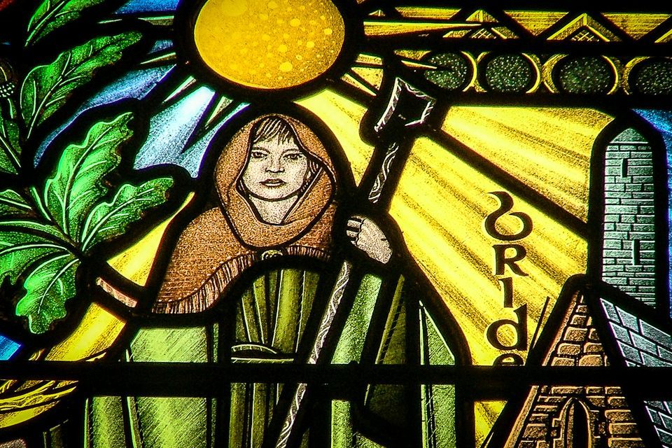 Saint Brigid (and her white cow) in the Church of Ireland Cathedral at Armagh