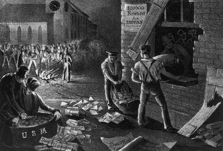 Illustration of abolitionist pamphlets being burned in South Carolina.
