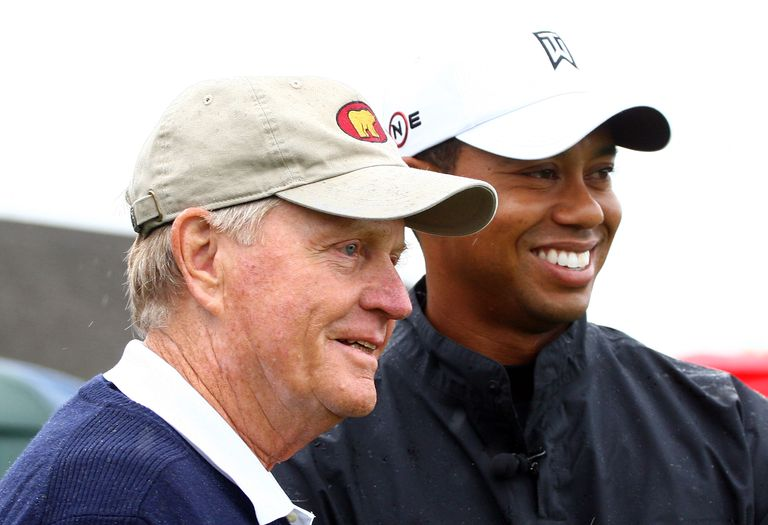 Jack Nicklaus and Tiger Woods pose on the tenth tee during a skins game prior to the start of the Memorial Tournament at the Muirfield Village Golf Club on June 3, 2009