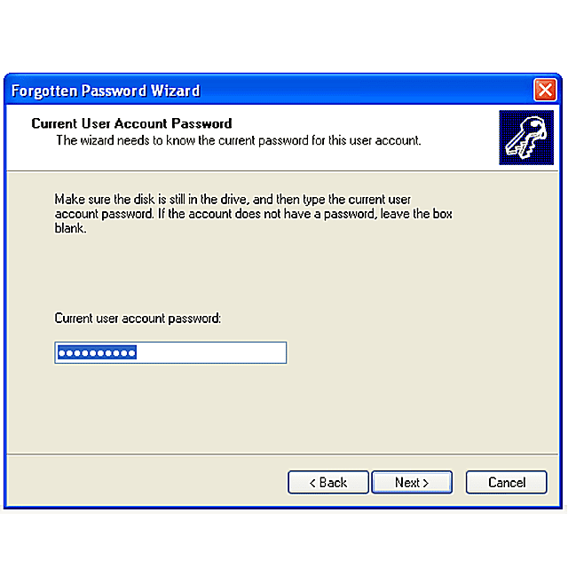 Screenshot of creating a Windows XP password reset disk