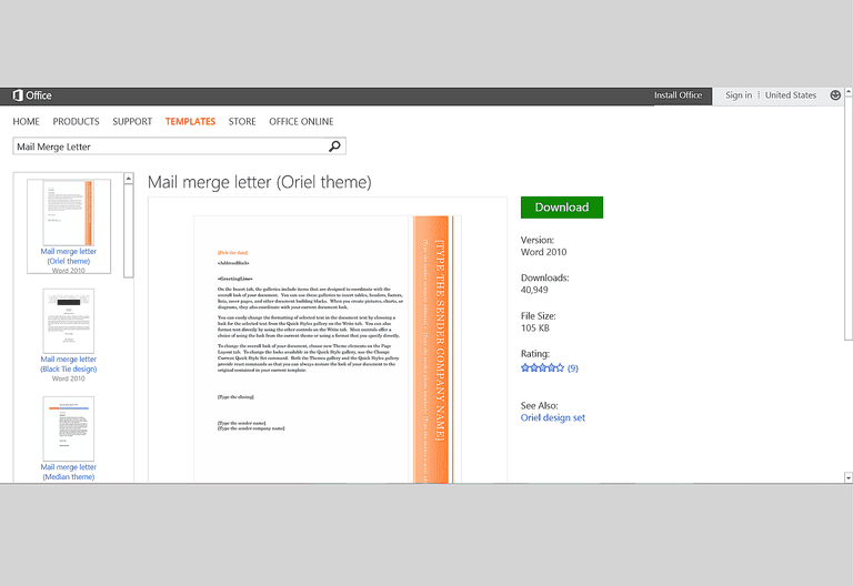ms word website template