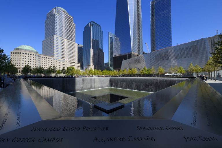 Michael Arad's 9/11 Memorial with One World Trade Center (1WTC) in the background