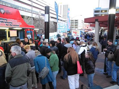 A big crowd enjoys Food Truck Fridays at CitiCenter in downtown Reno, Nevada, NV