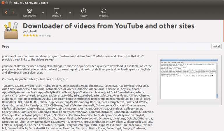 Install youtube-dl From Ubuntu Software Centre