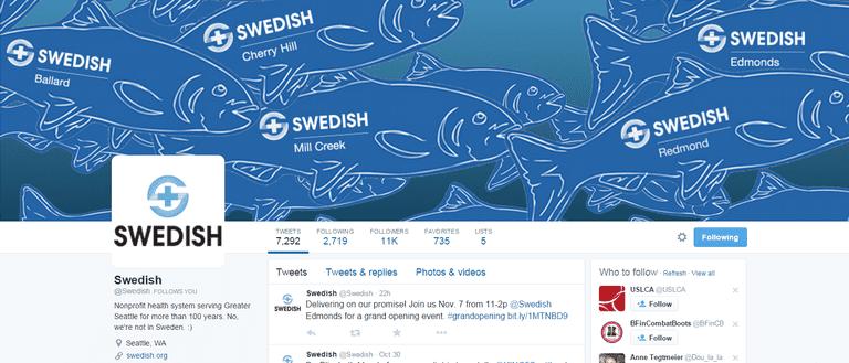 Screenshot of Swedish Health System's Twitter Account