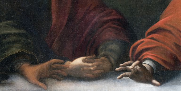 Hands of Saint Peter, Saint John and Jesus, from left to right, detail from the Last Supper, 1611-1616, painting by Andrea Bianchi called Vespino (active 1612-1640), oil on canvas, 118x835 cm