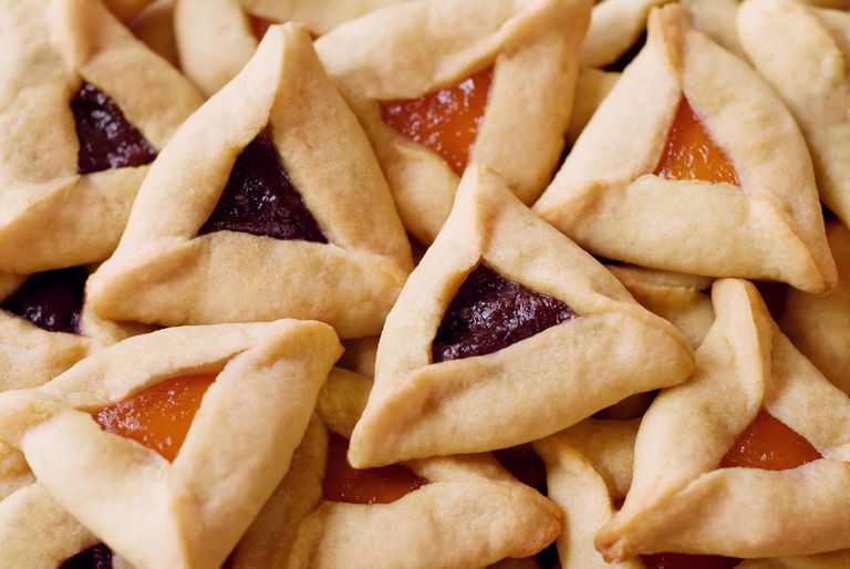 Close up of a pile of Hamantaschen Cookies