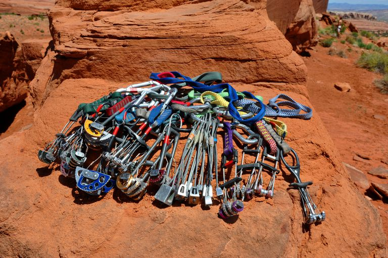 Carefully rack all of your cams and nuts before leading up a big desert tower near Moab.