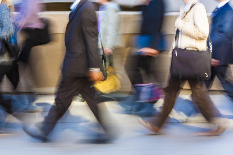 Commuters rushing