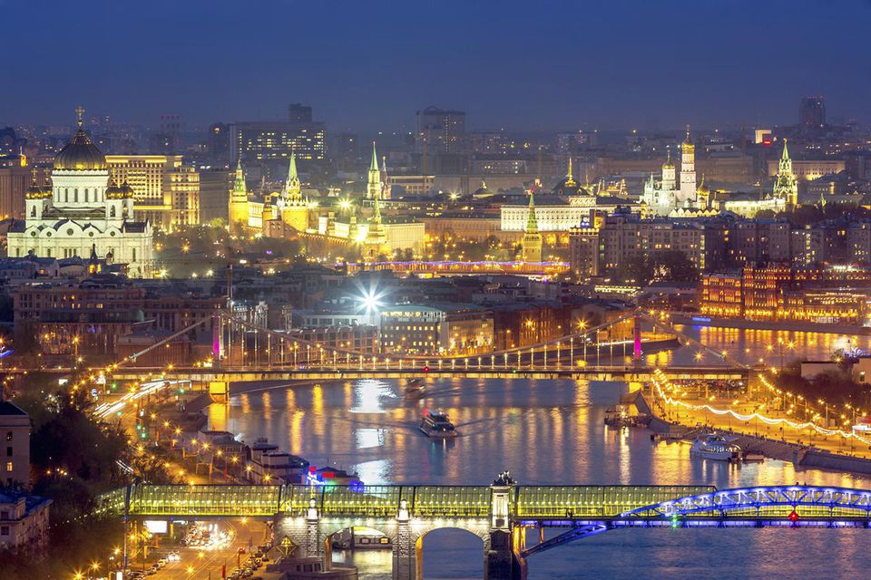Moscow downtown and river at night