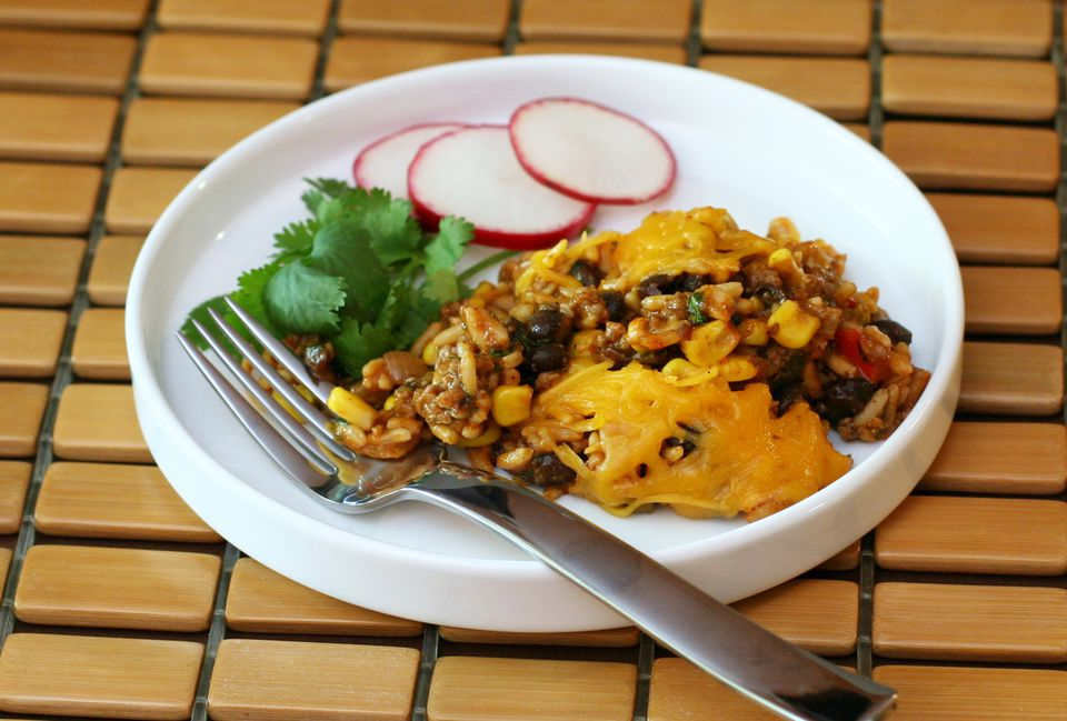 Quick and Easy Tex-Mex Beef and Rice Bake