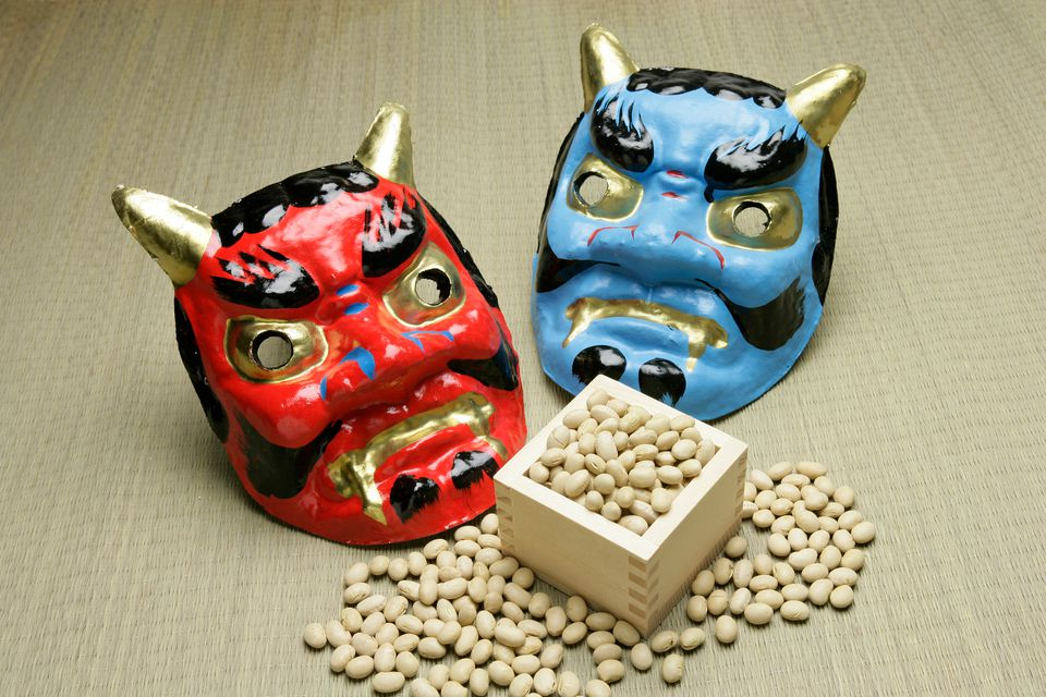 Setsubun masks and soybeans to be thrown