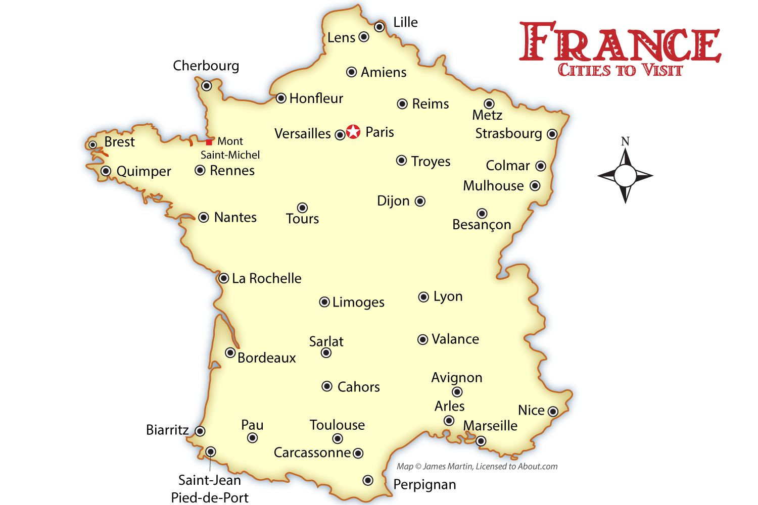 France Cities Map And Travel Guide - Map of texas showing cities