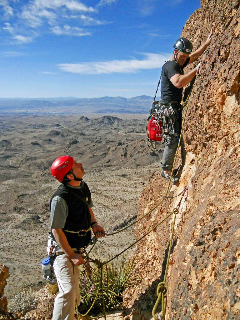 Brian Shelton leads the last pitch up sharp pockets on the first ascent of the Tower of Kor in 2012. Dennis Jump belaying.