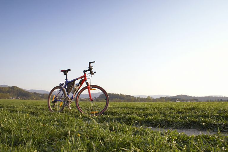 bicycle in grass in front of mountains