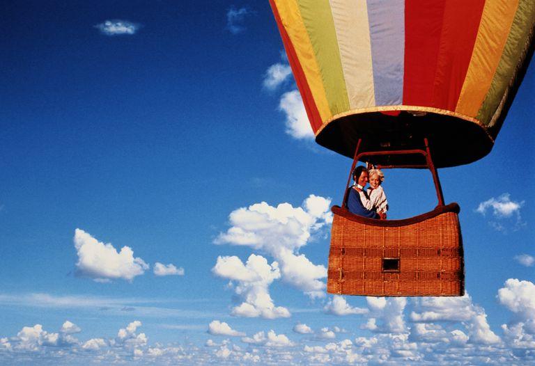 A couple in a hot air balloon