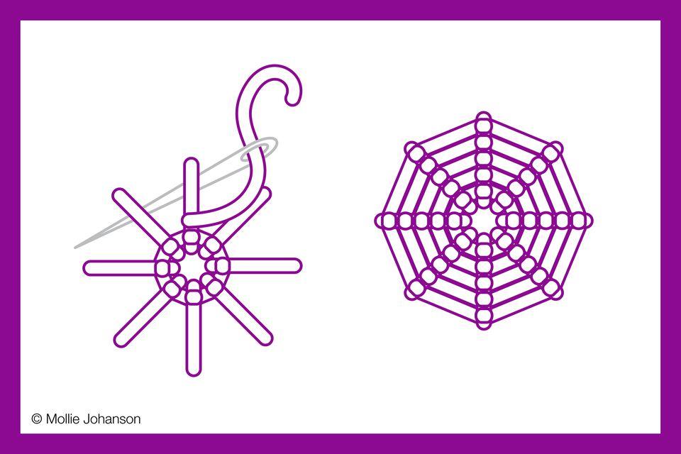 Working Spider Web Stitch