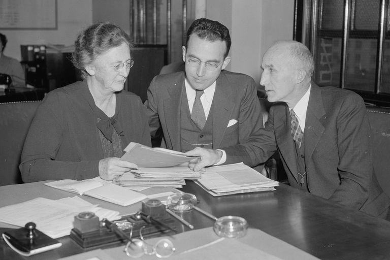 Molly Dewson, Arthur J. Altmeyer, George E. Bigge, of Social Security Board, November 1937